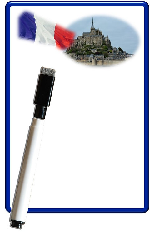 Pense bête effaçable magnétique photo Mont Saint Michel 15x10cm avec marqueur