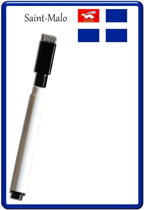 Pense bête effaçable magnétique photo drapeau Saint Malo 15x10cm avec ma