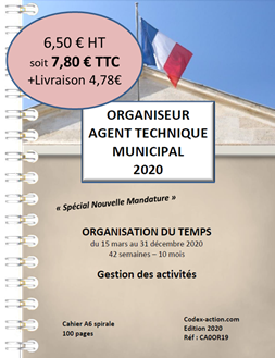 Organiseur Agenda 2020 Agent Technique Municipal  A6 spirale 100 pages