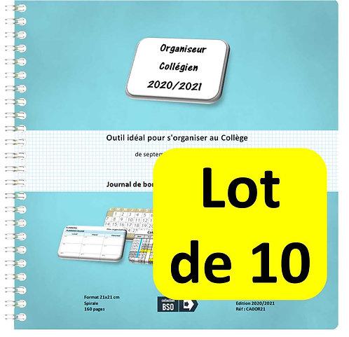 Lot de 10 Organiseurs Agenda Collégien 2020-2021 21x21 cm spirale 160 pa