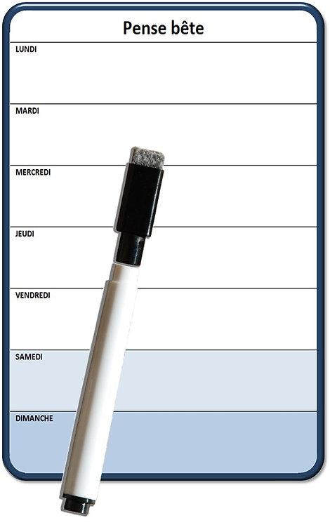Mini-planning Semaine magnétique effaçable 15x10 cm A5 avec marqueur