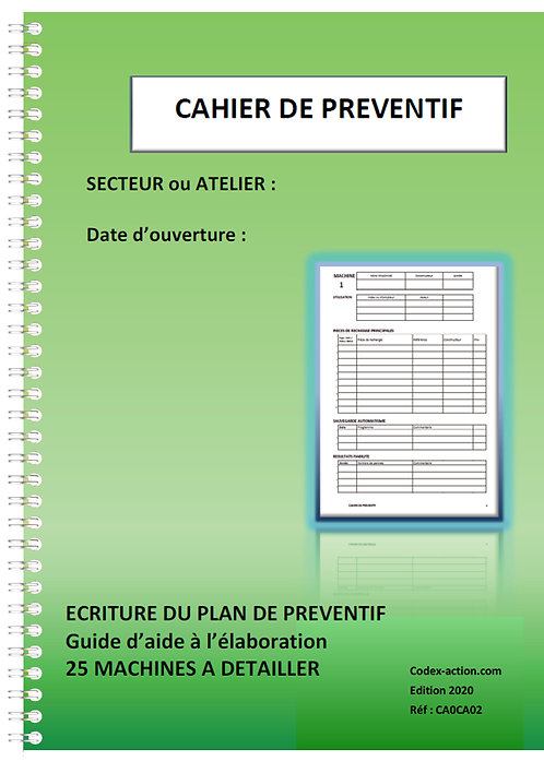 Cahier de préventif Elaboration du plan de préventif A4 spirale 80 pages