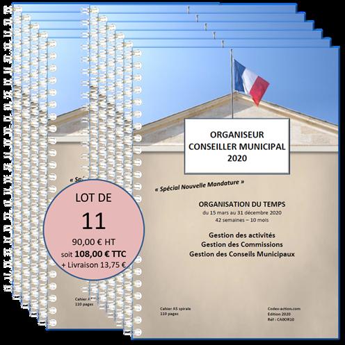 Lot de 11 Organiseurs Agendas 2020 Conseiller municipal A5 spirale 110 pages