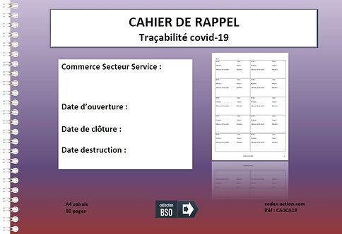 Cahier de rappel - tracabilité covid-19 - A4 spirale 80 pages