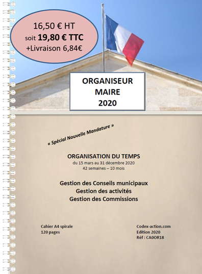 Organiseur Agenda 2020 Maire A4 spirale 120 pages