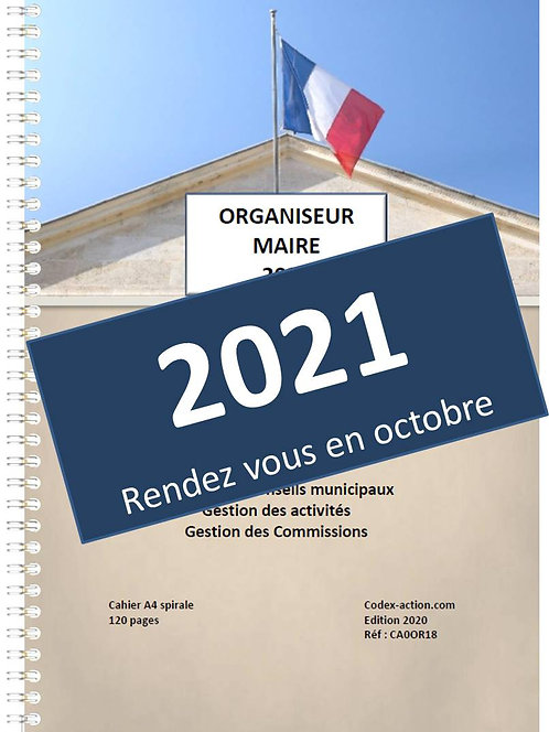 Organiseur Agenda 2021 Maire A4 spirale 160 pages