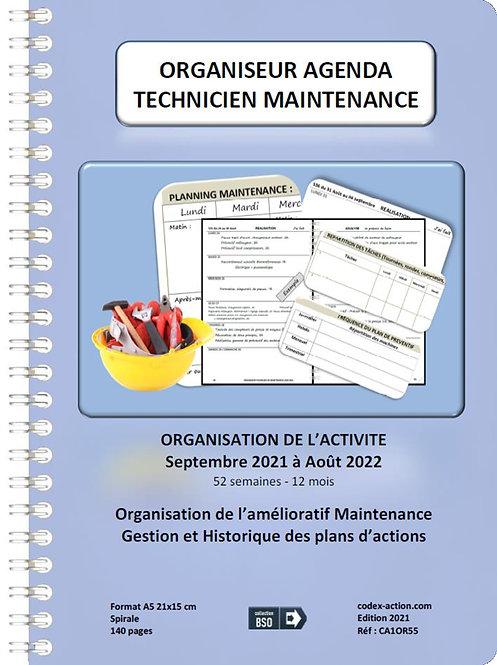 Organiseur Agenda Technicien de maintenance septembre 2021 A5 spirale 140 pages