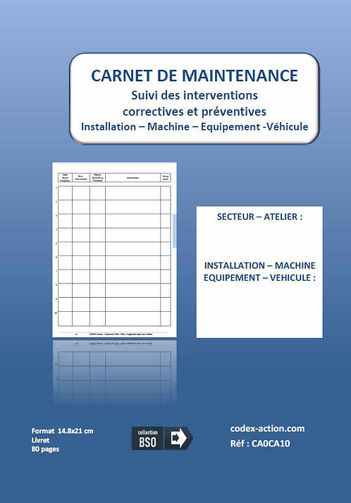 Carnet de maintenance A5 80 pages