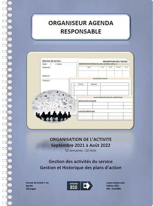 Organiseur Agenda Responsable septembre 2021 A4 spirale 160 pages