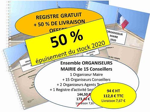 Ensemble Organiseurs Agendas 2020 Mairie de 500-1500 habitants - 15 conseillers