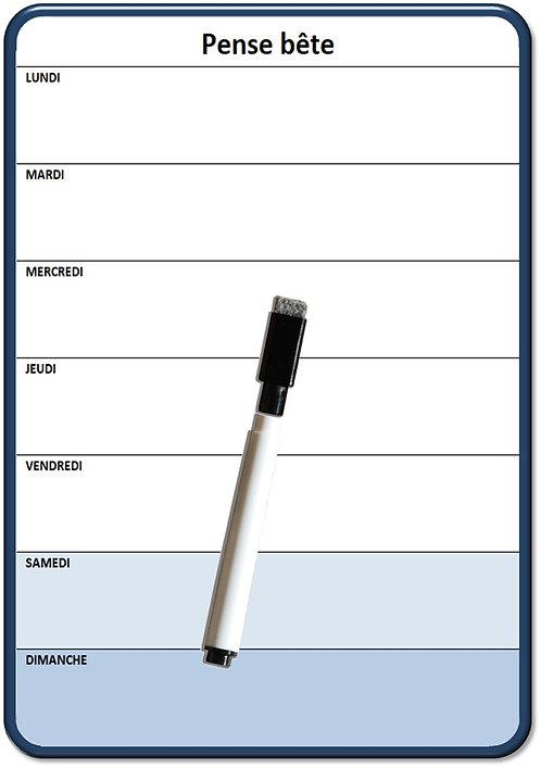 Planning Semaine magnétique effaçable 15x21 cm A5 avec marqueur