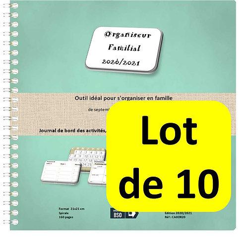 Lot de 10 Organiseurs Agenda Familial 2020-2021 21x21cm spirale 160 page
