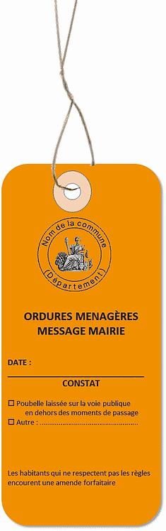Etiquettes américaines MESSAGE ORDURES MENAGERES -cartonnées-147x65mm-attache