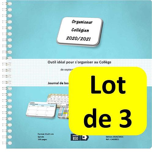 Lot de 3 Organiseurs Agenda Collégien 2020-2021 21x21 cm spirale 160 pages