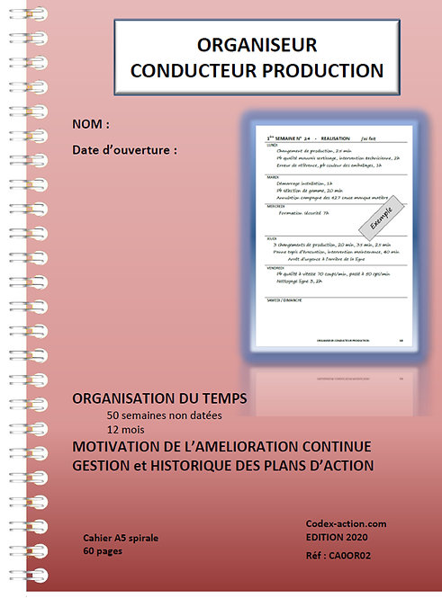 Lot 10 Organiseurs Conducteur production A5 spirale 120 pages