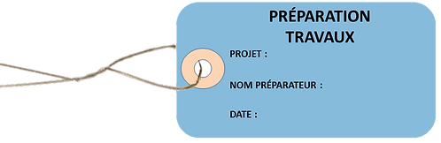 Etiquettes américaines PREPARATION TRAVAUX -cartonnées-100x55mm-attache metal