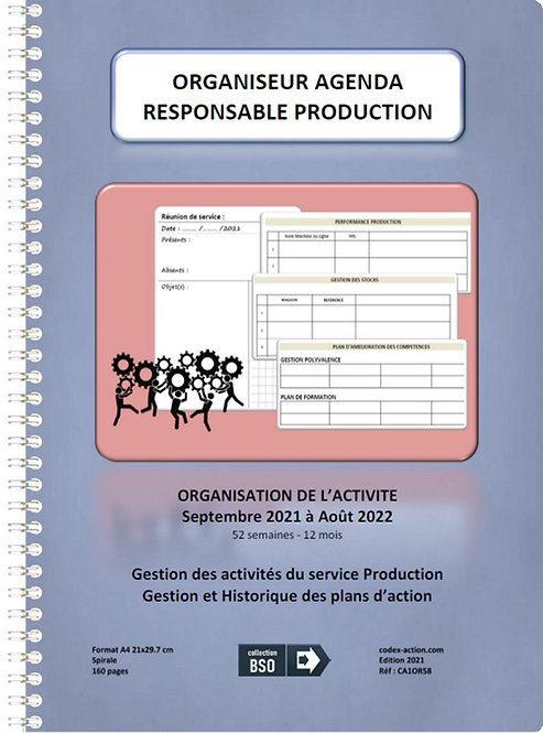 Organiseur Agenda Responsable Production septembre 2021 A4 spirale 160 pages