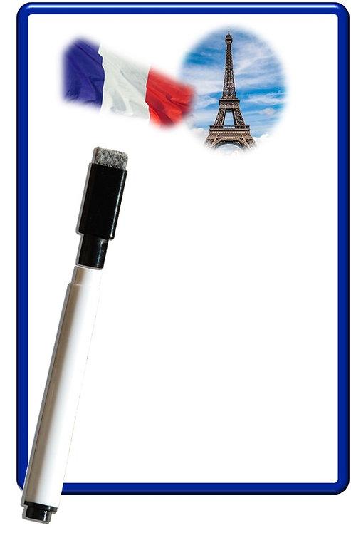 Pense bête effaçable magnétique photo Tour Eiffel 15x10cm avec marqueur