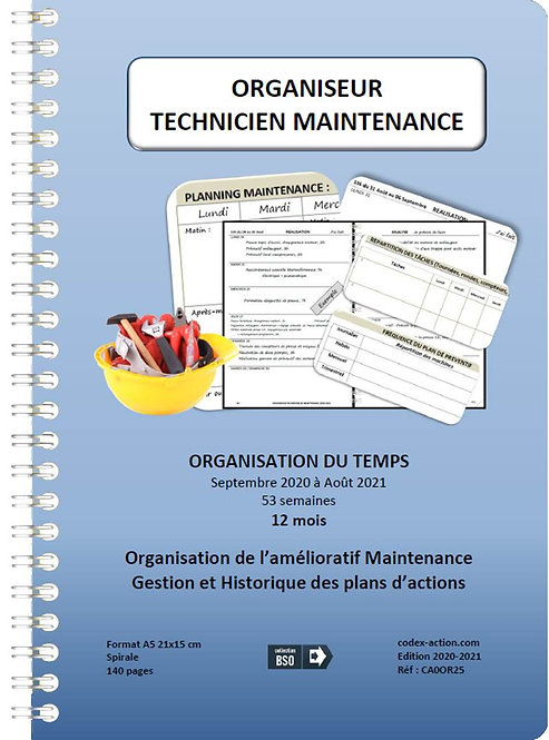Organiseur Agenda Technicien de maintenance sept-2020-2021 A5 spirale 140 pages