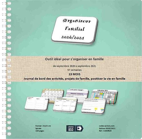 Organiseur Agenda Familial 2020-2021 21x21cm spirale 160 pages