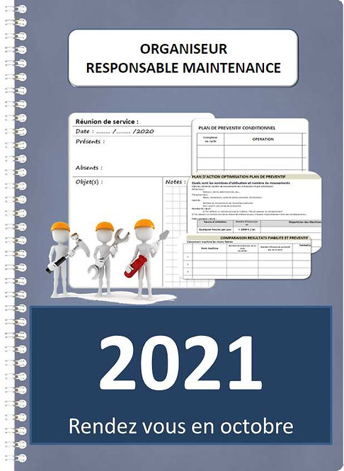 Organiseur Agenda Responsable de maintenance 2021 A4 spirale 160 pages