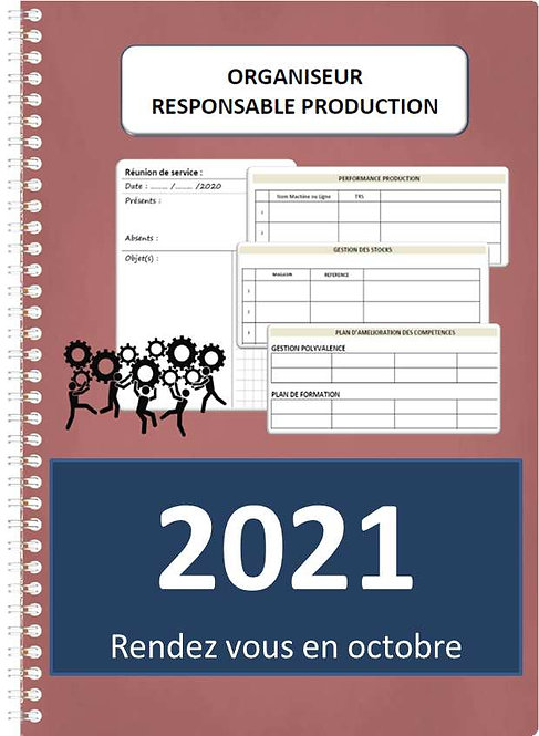 Organiseur Agenda Responsable Production 2021 A4 spirale 160 pages