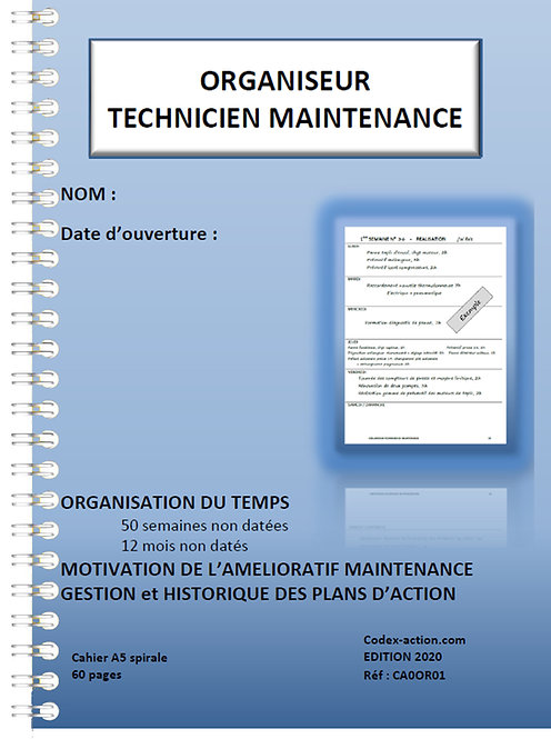 Organiseur Technicien de maintenance A5 spirale 120 pages