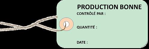 Etiquettes américaines PRODUCTION BONNE -cartonnées-100x55mm-attache metallique