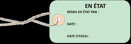 Etiquettes américaines 'EN ETAT' cartonnées 100x55 mm avec attache métallique