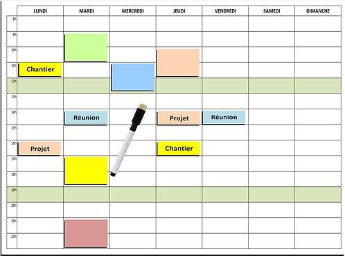 Kit Planning Entreprise Service magnétique effaçable 30x40 cm A3