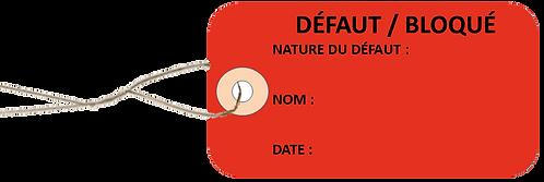 Etiquettes américaines DEFAUT -cartonnées-100x55mm-attache metallique