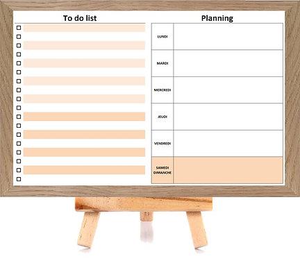 Planning semaine et To Do List effaçables avec son chevalet et feutre effaçable