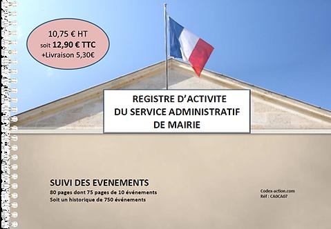 Registre d'activité du service administratif de mairie A4 spirale 80 pages