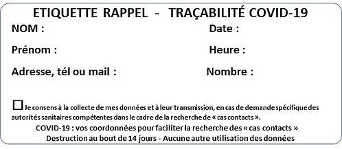 Etiquette adhésive pour cahier de rappel -Tracabilité covid-19 - 90x39mm