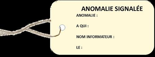 Etiquettes américaines ANOMALIE SIGNALEE -cartonnée-attache-metallique-100x55