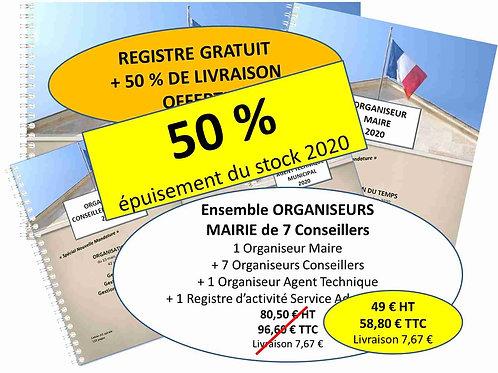 Ensemble Organiseurs Agendas 2020 Mairie moins de 100 habitants - 7 conseillers