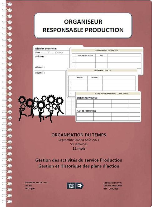 Organiseur Agenda Responsable Production sept-2020-2021 A4 spirale 160 pages