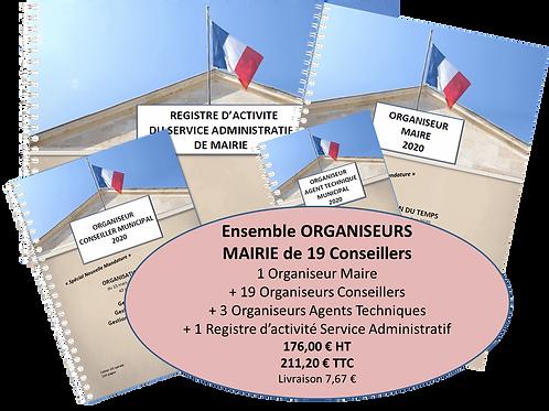 Ensemble Organiseurs Agendas 2020 Mairie de 1500-2500 habitants - 19 conseillers