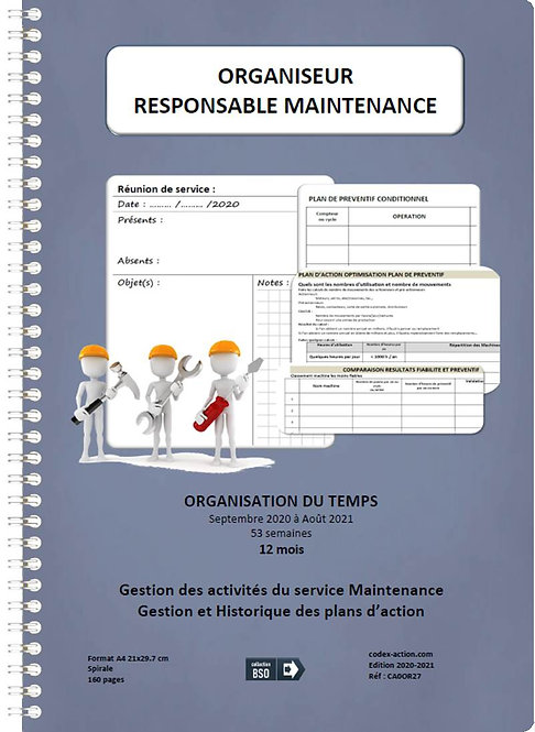Organiseur Agenda Responsable de maintenance sept-2020-2021 A4 spirale 160 pages