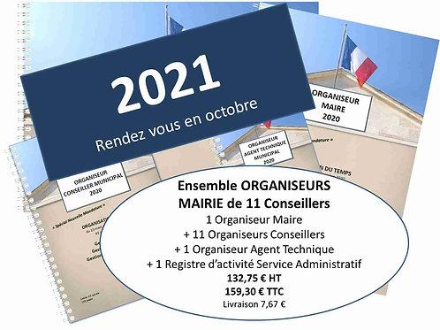 Ensemble Organiseurs Agendas 2021 Mairie de 100-500 habitants - 11 conseillers