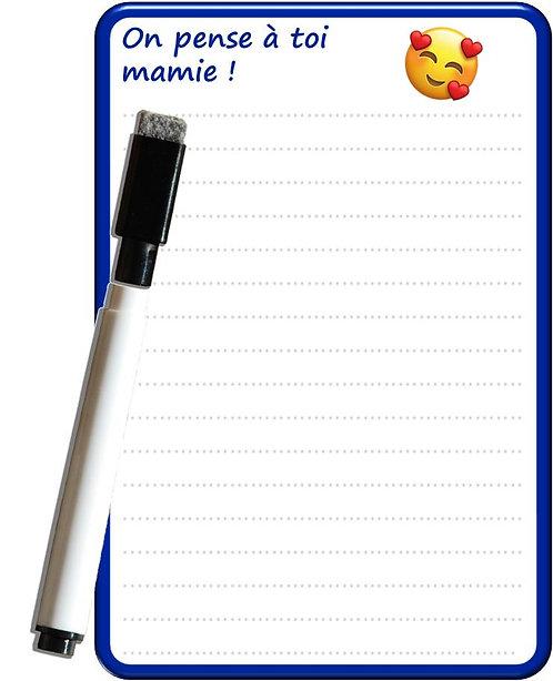 Pense bête effaçable magnétique message 'on pense à toi mamie !' 15x10 marqueur