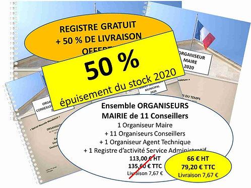 Ensemble Organiseurs Agendas 2020 Mairie de 100-500 habitants - 11 conseillers