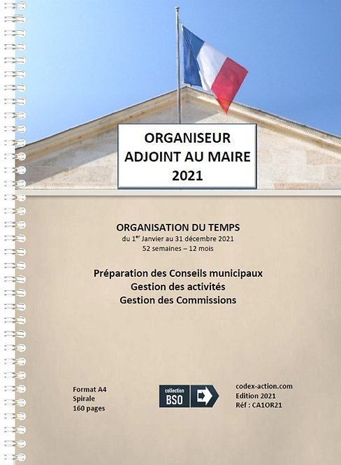 Organiseur Agenda 2021 Adjoint au Maire A4 spirale 160 pages