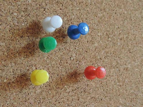 Lot de 30 Punaises de bureau Push Pins colorées tête bobine