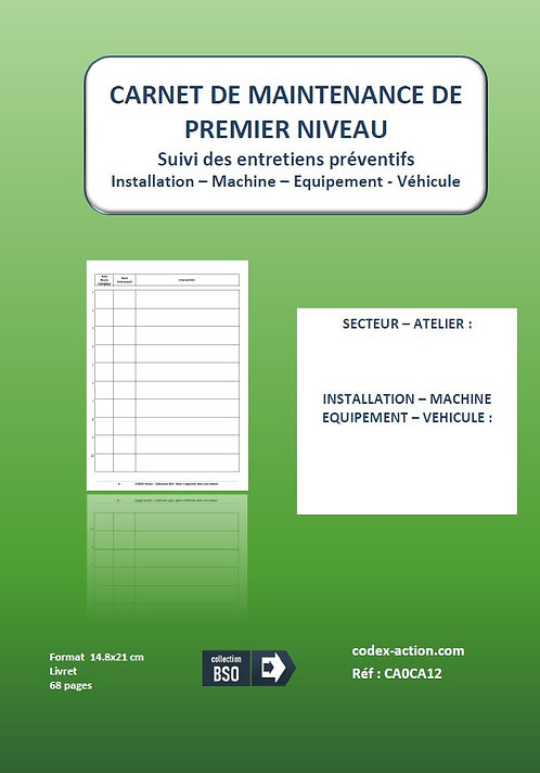 Carnet de maintenance premier niveau A5 68 pages