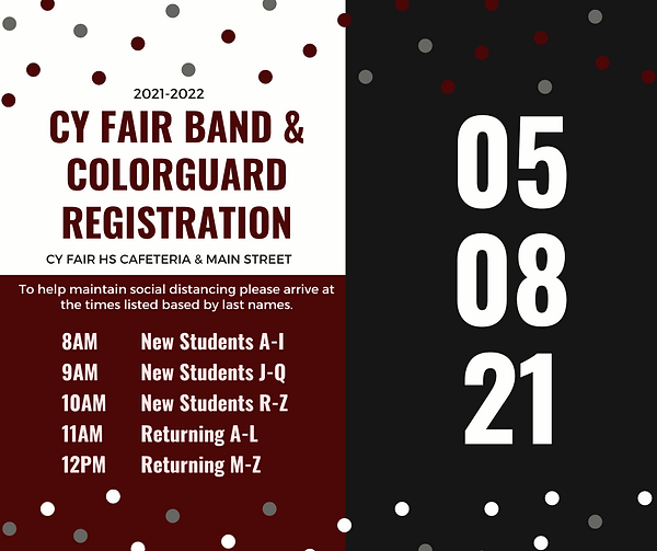 Band Registration Announcement Spring 20