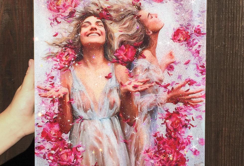 """Blossom Rain"" GLITTER EMBELLISHED PRINT"