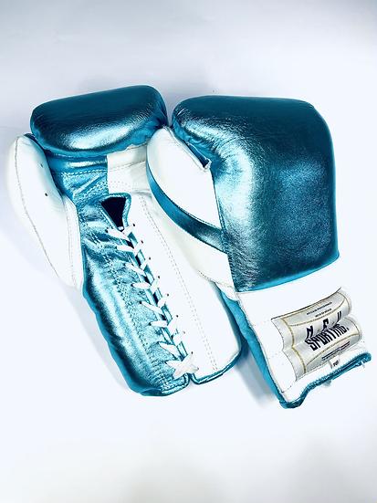 New Sporting Training Gloves - Metallic Blue Sky/ White