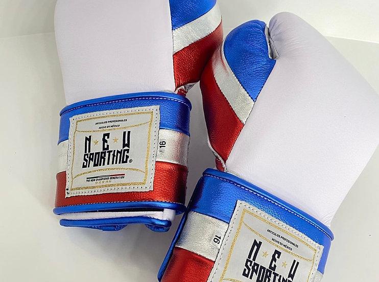 New Sporting Training Gloves - White/ Metallic Red/ Metallic Blue