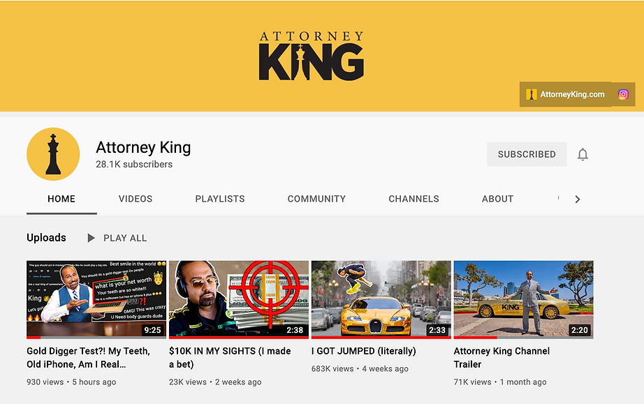 Attorney King Youtube Channel